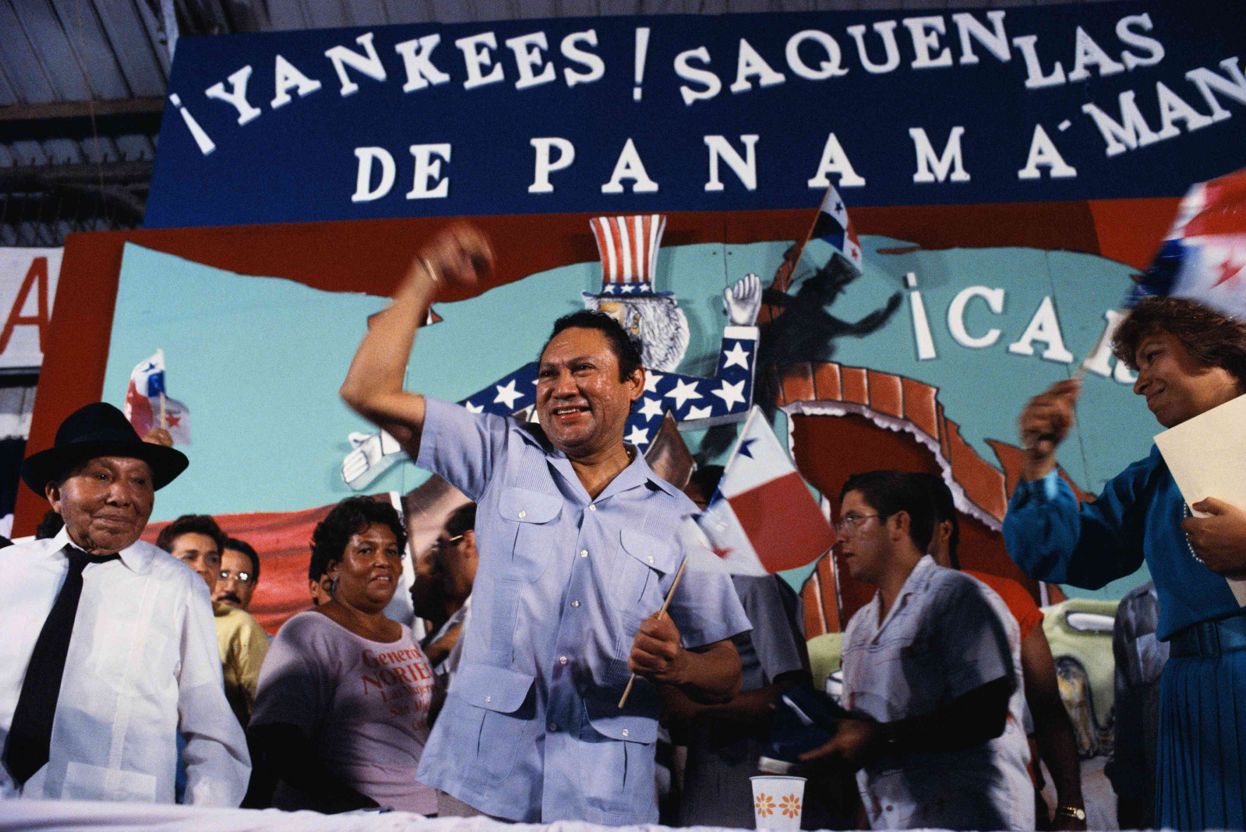 Manuel Noriega with anti-imperialist message, 1988