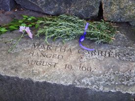 The grave marker of Martha Carrier