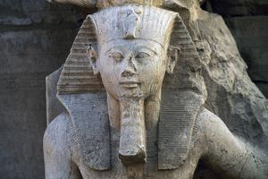 Close up of statue of Tuthmosis III in the Karnak Temple Complex, Egypt