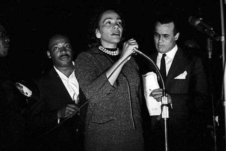 Coretta Scott King, Montgomery, Alabama, March 24, 1965, last night of Selma to Montgomery march