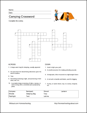 Camping Wordsearch Vocabulary Crossword And More