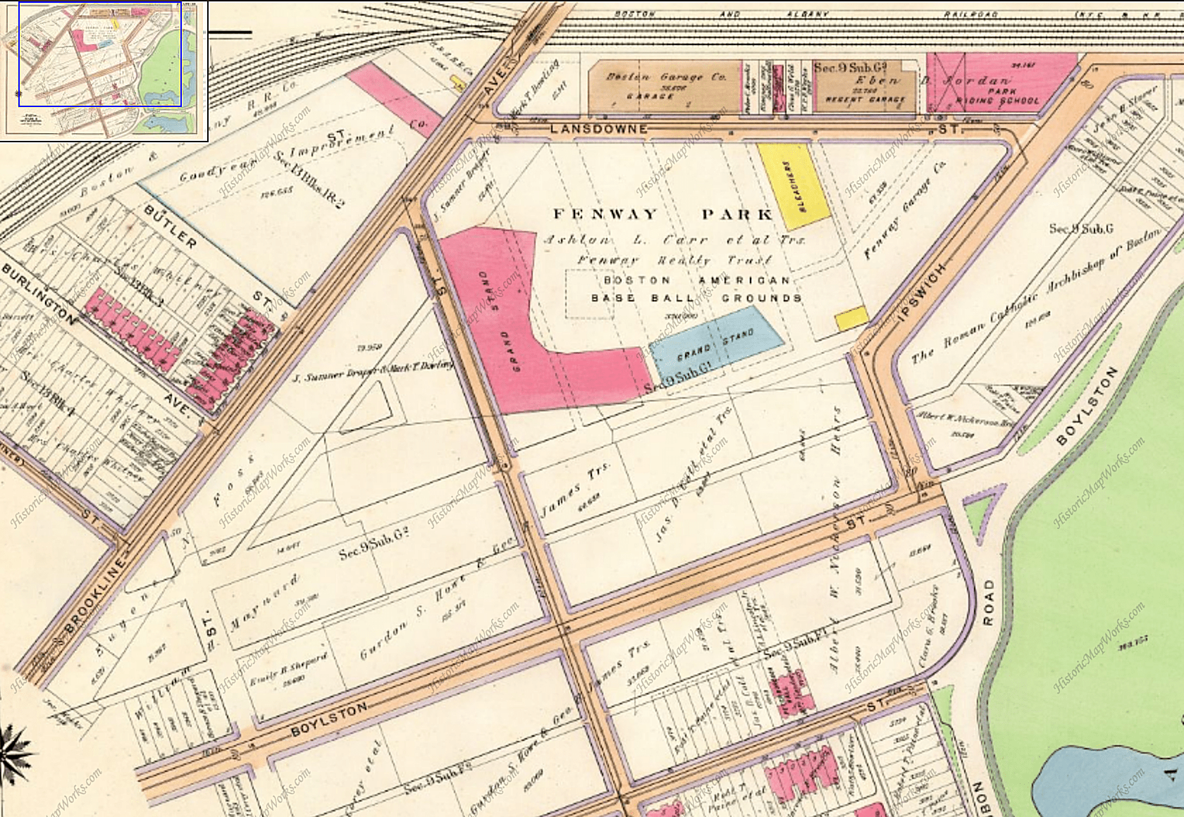 1912 view of the Fenway Park area of Boston, Massachusetts