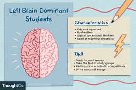 Left brain dominant students. Characteristics: tidy and organized, goal setters, logical and rational thinkers, good at following directions. Tips: study in quiet spaces, take the lead in study groups, participate in scholastic competitions, write analytical essays.