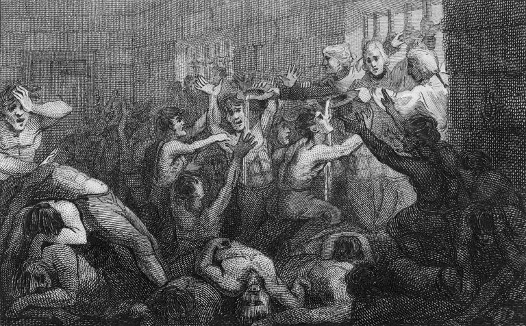 Illustration of British prisoners held in the Black Hole of Calcutta