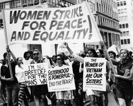 Women protesting for peace and equality in the 1960s