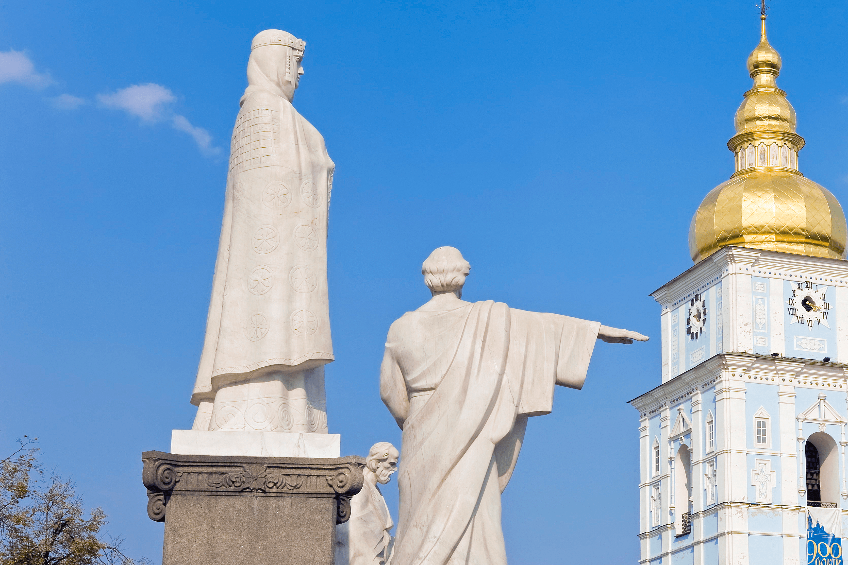 Monument to Olha (Olga) in front of monastery, Ukraine
