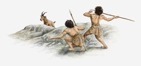 Illustration of hunters in Indonesia using spears to kill their prey, circa 15000 BC