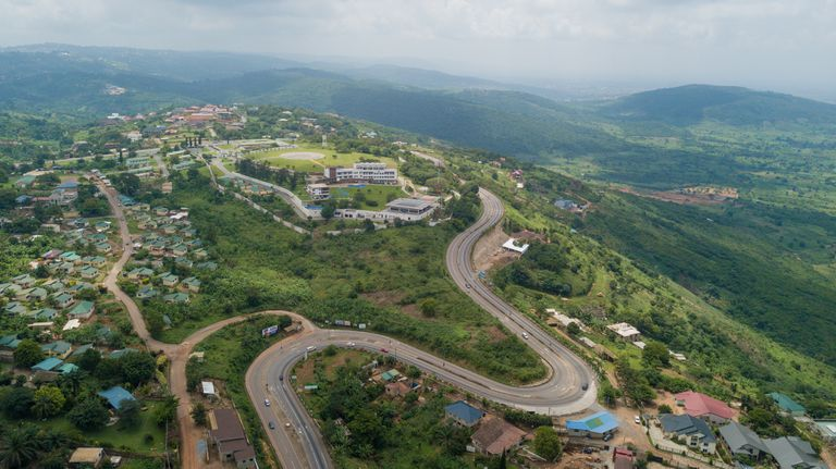 High-angle view of Peduase, Ghana
