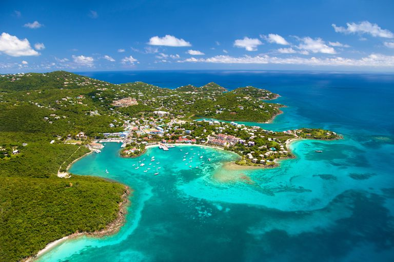 aerial shot of Cruz Bay, St.John in US Virgin Islands