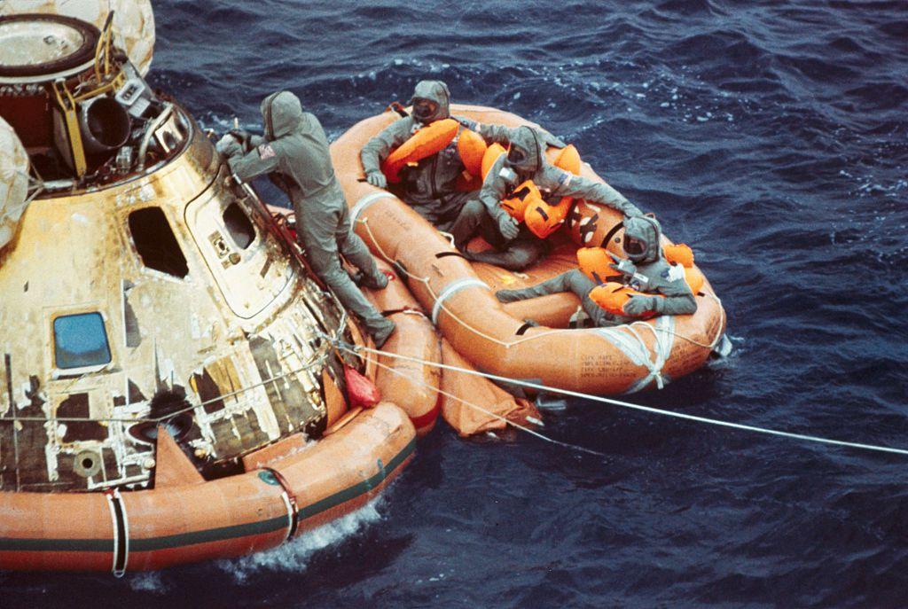 Apollo 11 astronauts wait in life raft after splash down