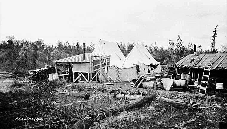 Temporary Housing Conditions at Relief Camp in Ontario
