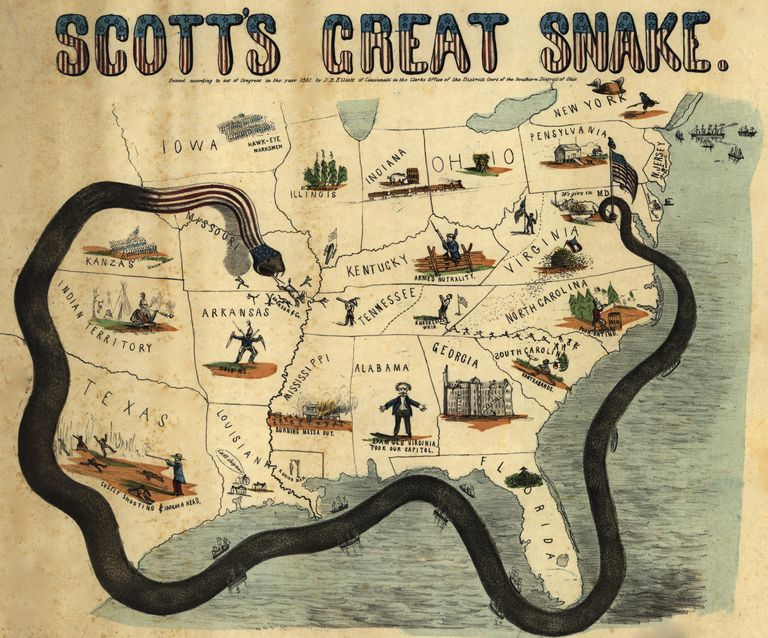 Cartoon map depicting General Winfield Scott's Anaconda Plan