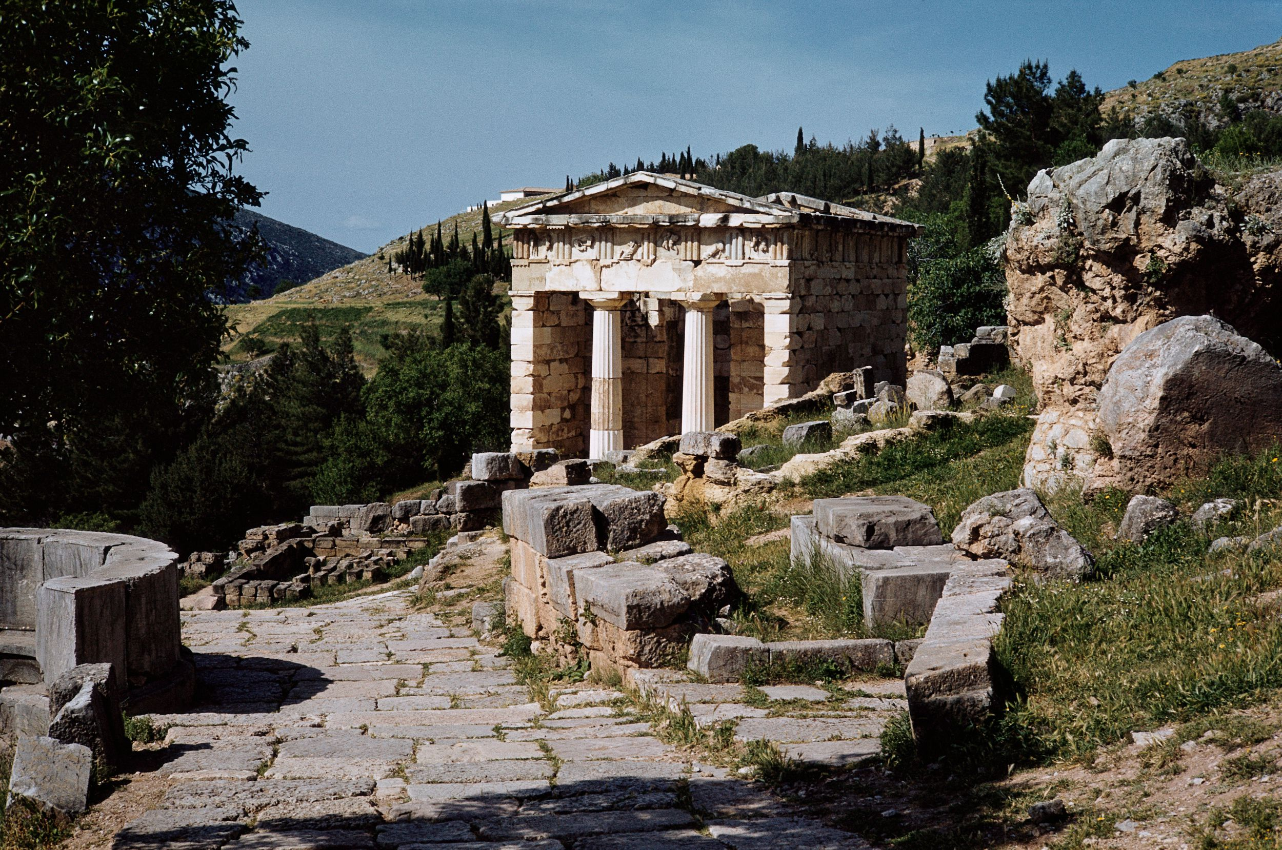 View of the Treasury of the Athenians at Delphi