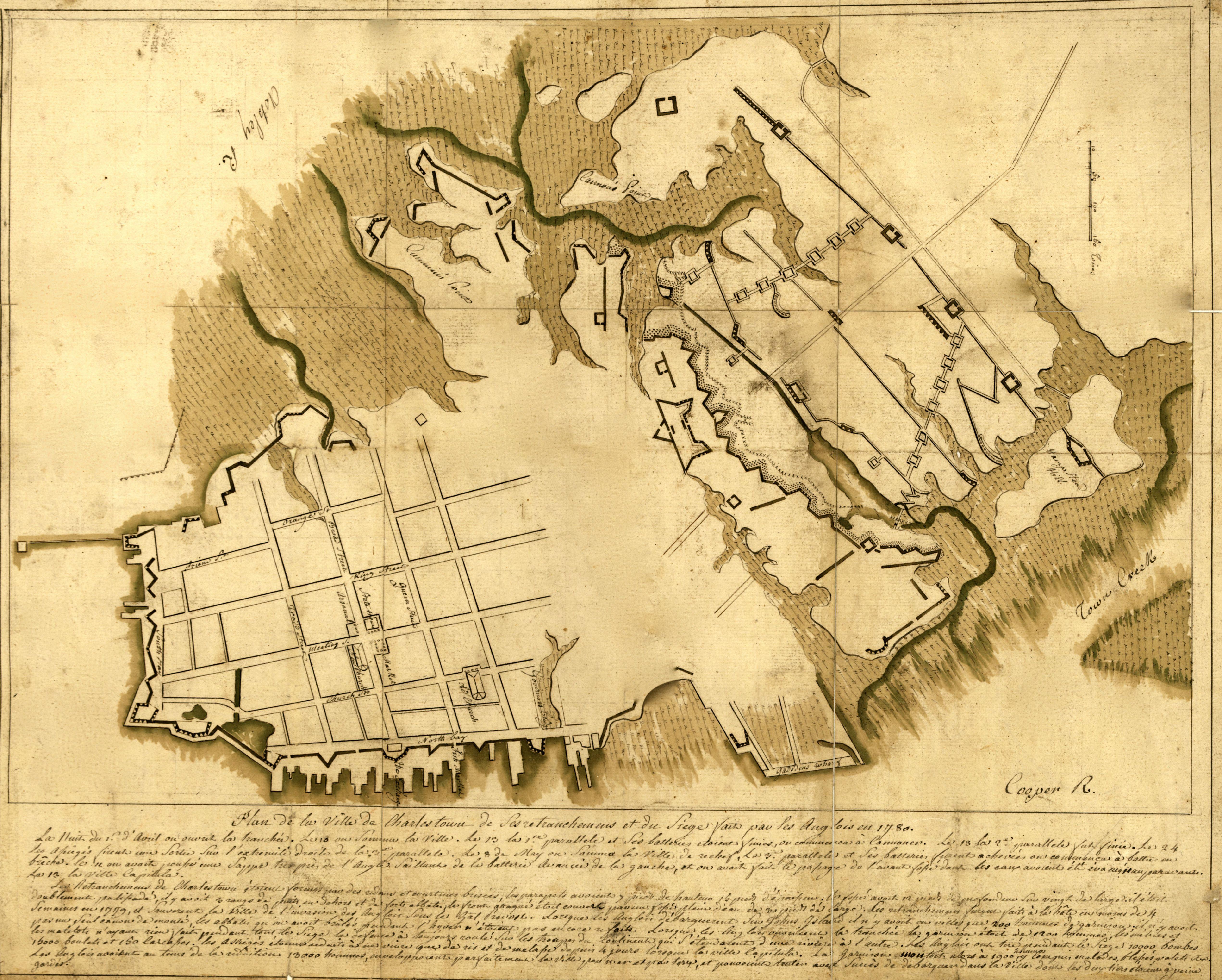 Map of the British defenses at Charleston.