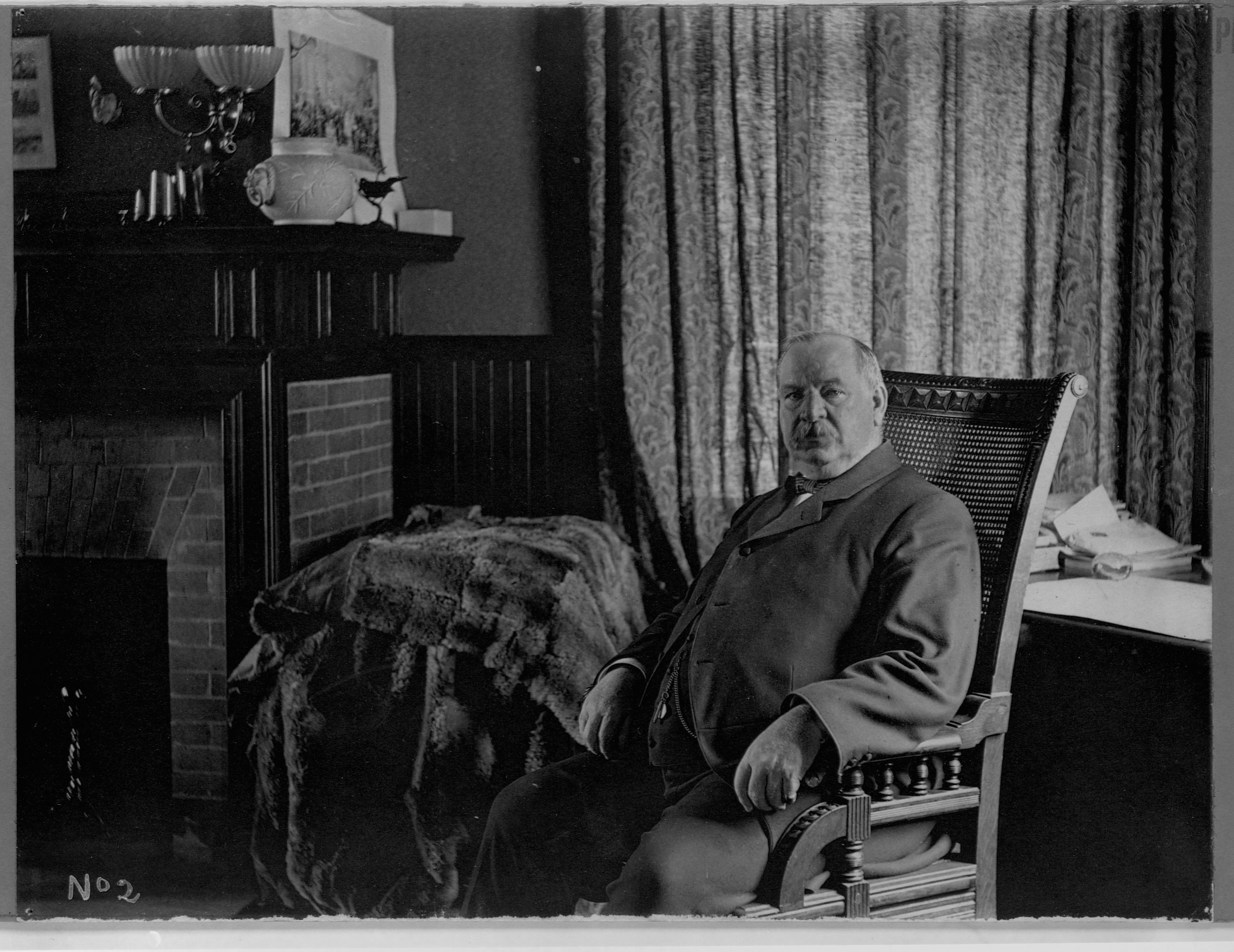 Grover Cleveland Relaxing by Fireplace
