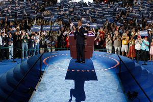 Barak Obama accepting the Democratic Party nomination for president in 2008.
