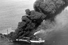 The convoy ship SS Pennsylvania Sun burns after being struck by a torpedo in the North Atlantic, July 15, 1942