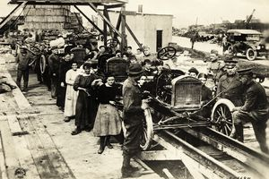 Assembly line early in the history of the Ford company