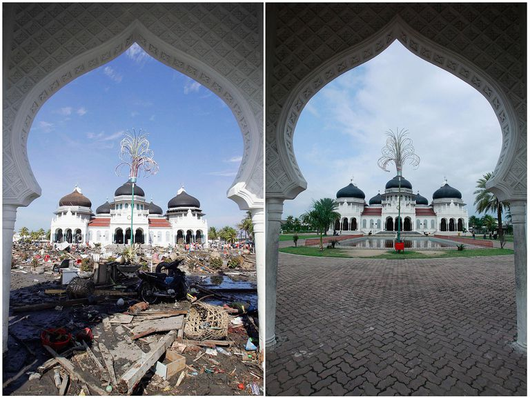 Banda Aceh with earthquake rubble and rebuilt