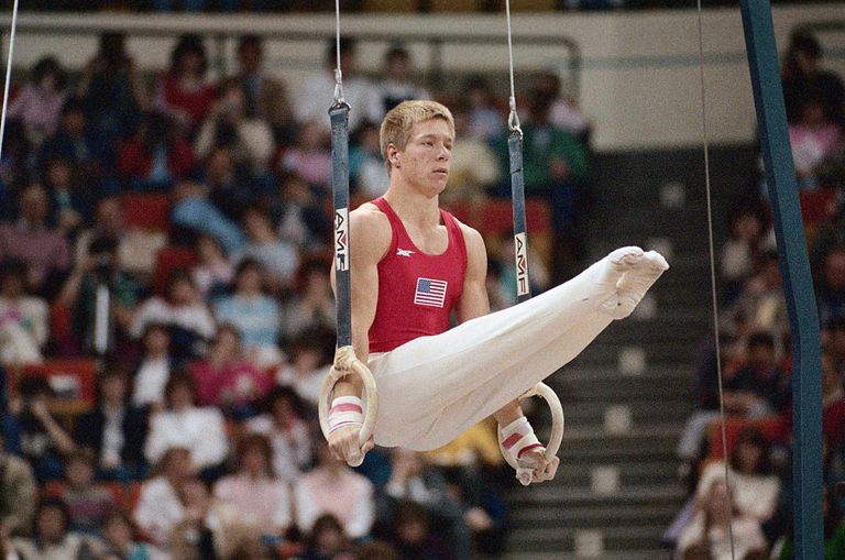 Tim Daggett Performing on Rings