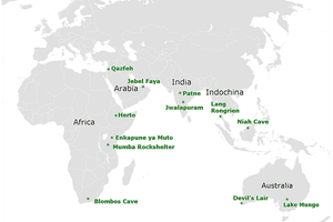 Map of Archaeological Sites which Have Evidence of Southern Dispersal Route