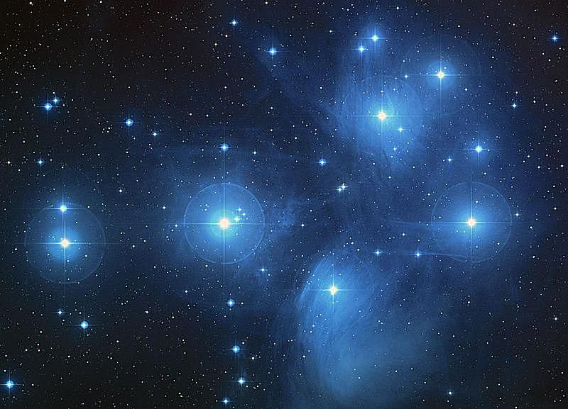 This photo of the Pleiades clearly shows its reflection nebulae.