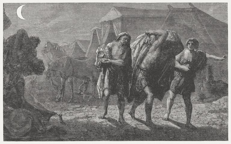 The four lepers find the camp leaving (2 Kings 7)