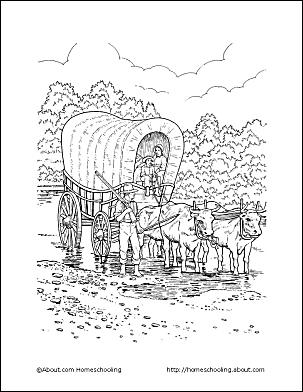 pioneer life coloring page covered wagon