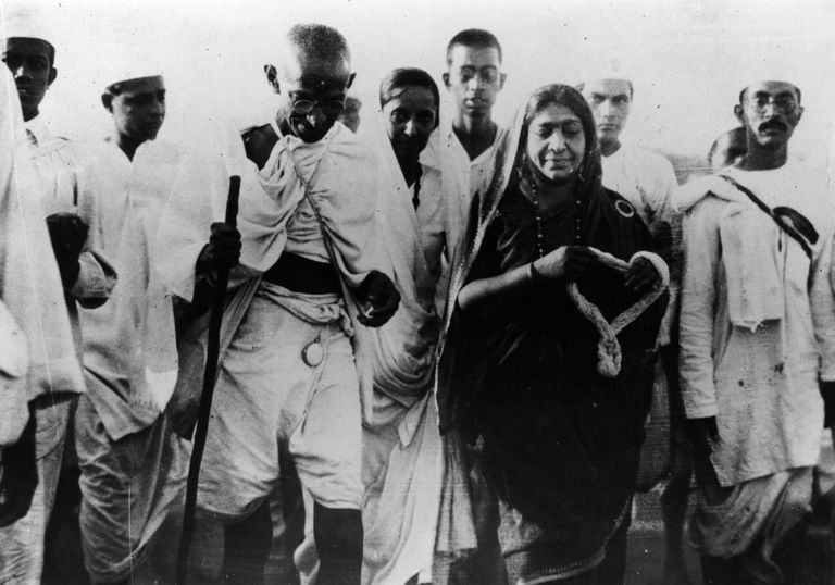 Mahatma Gandhi leading followers on the Salt March.