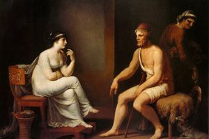 """Painting depicting Odysseus and Penelope from """"The Odyssey"""""""