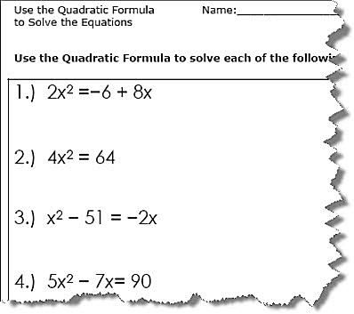 Use the Quadratic Formula to solve the equations. Quadratic ...