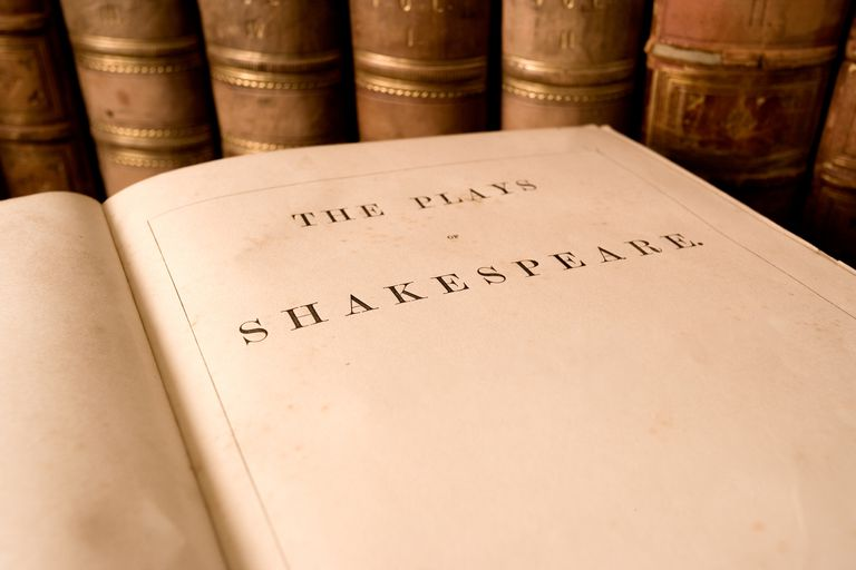 The title page from an antique book of the plays of Shakespeare.