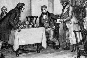 Illustration of Daniel O'Connell being arrested