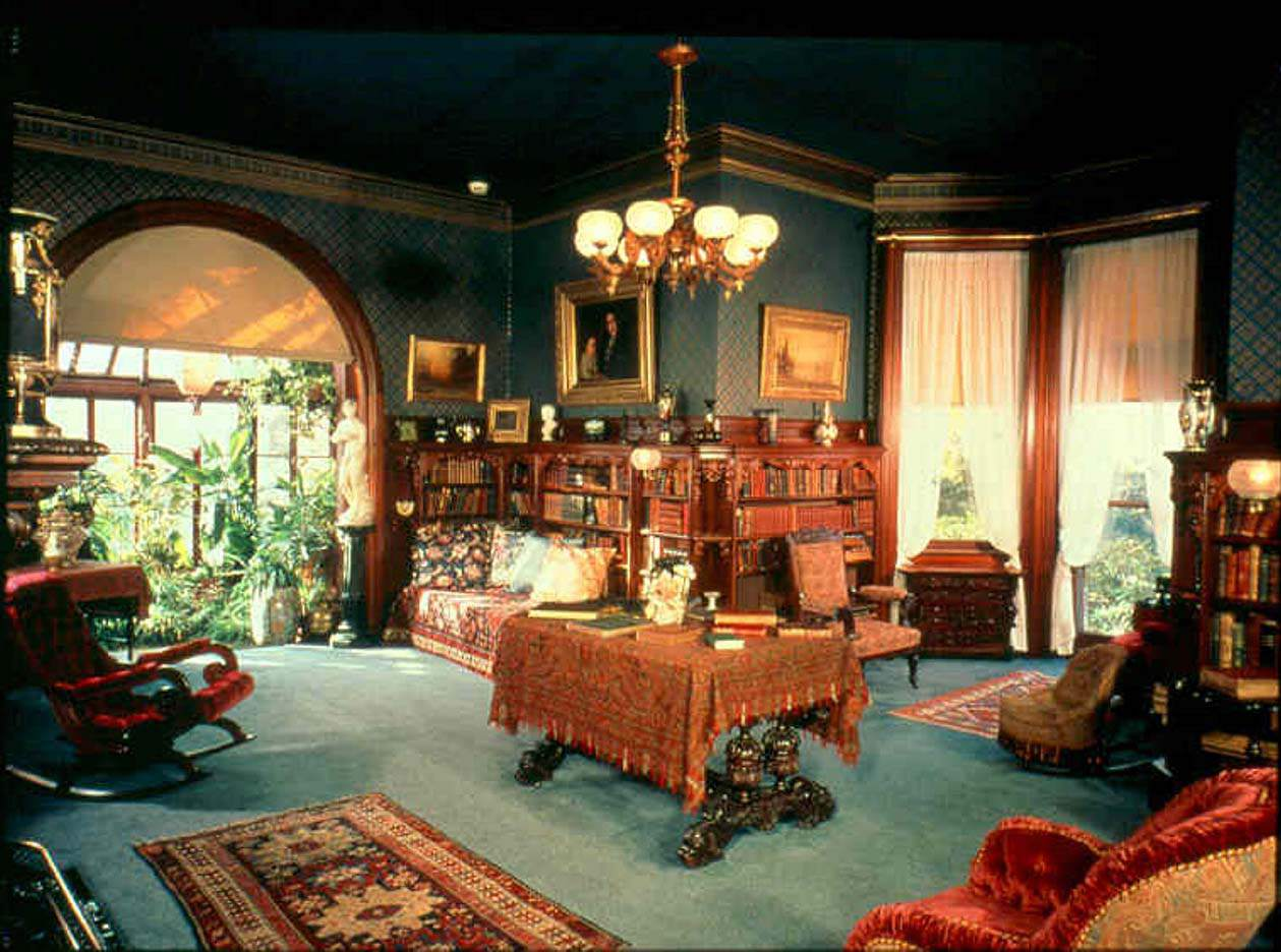 Samuel Clemens told stories in the library of his Conneticut home.