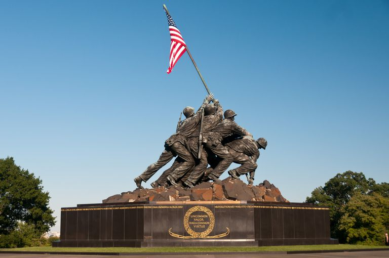 monument of soldiers raising an American flag, designed after a World War II photograph