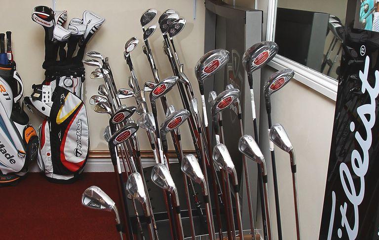 A display of OEM golf clubs by Titleist, an original equipment manufacturer