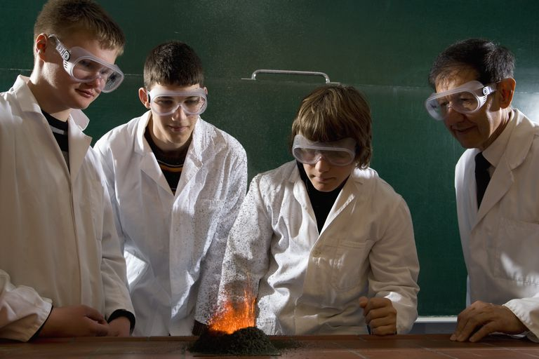 A teacher supervising students doing a chemistry experiment with lit gunpowder