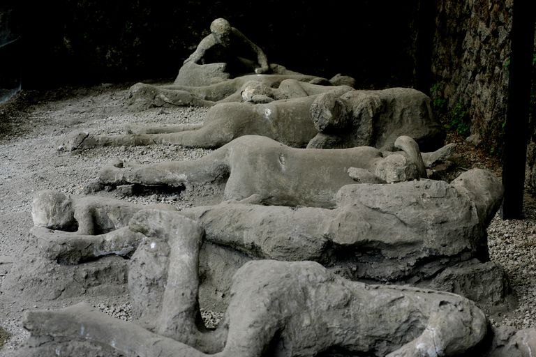 A row of Pompeii Victims