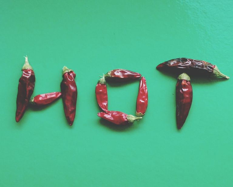 Hot peppers spelling the word
