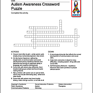 Autism Awareness Wordsearch, Vocab, Crossword, and More