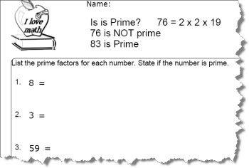 Prime Number Worksheet 2