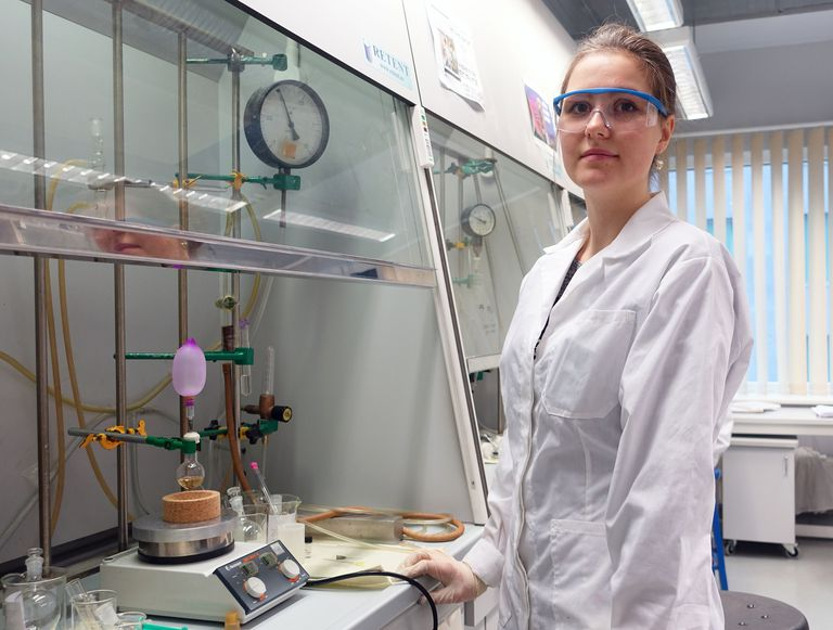 An organic chemist in a laboratory