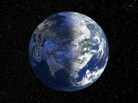 Asia , day and night, satellite image of the Earth