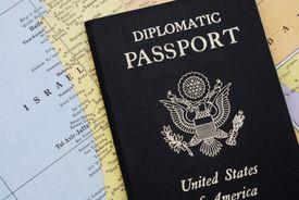 Diplomatic passport on map of Israel