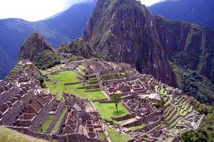 A famous view over the iconic lost city of Machu Picchu