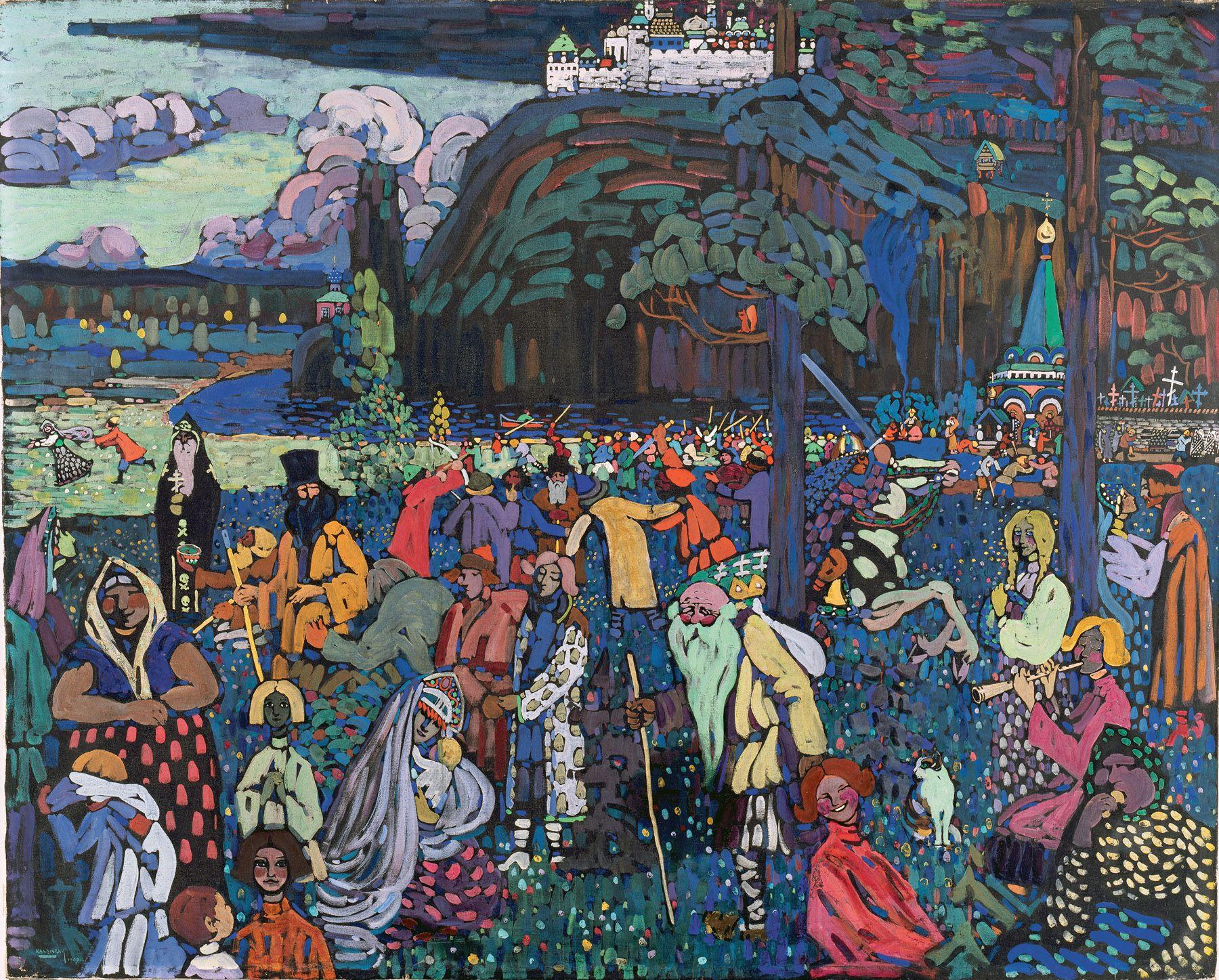 Wassily Kandinsky (Russian, 1866-1944) Wassily Kandinsky (Russian, 1866-1944). A Motley Life (Das Bunte Leben), 1907. Tempera on canvas. 51 1/8 x 63 15/16 in. (130 x 162.5 cm). Bayerische Landesbank, on permanent loan to the Städtische Galerie im Lenbachhaus, Munich.
