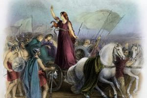 Illustration of Boadicea Haranguing the Britons