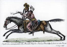 Illustration of Mameluke/Mamluk chief in battle gear, 1798.