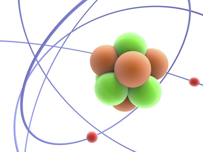 An atomic nucleus consists of protons and neutrons held together by the strong nuclear force.
