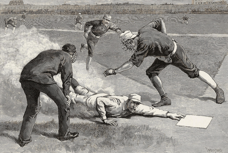 Illustration of 19th century baseball player Buck Ewing